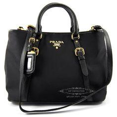 Prada BN1841 Tessuto Vitello Daino Leather Nylon Satchel Crossbody Handbag