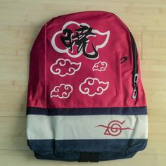 Naruto Red Backpack with Hidden Cloud Village symbol - Japancast