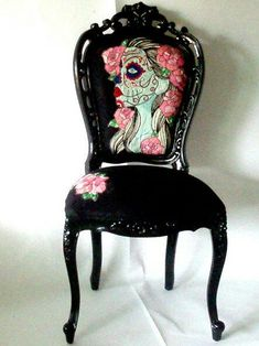 Sugar Skull Chair / I like the style of the black chair and then paint or sew any design onto the cushioned seat or back