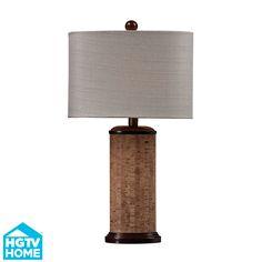 HGTV159 Ferrara 1-Light Table Lamp in Natural Cork and Brown