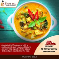 Exquisite Thai food along with a chilling drink is all you need to turn any day into a party. Order above 15 euros and get a cold drink for free. . . . #SafetyFirst #OnlineOrder #FreeDelivery #Thai #ThaiFoods #ThaiDishes #Cuisines #FoodPorn #Foodie #ThaiCuisine #Restaurant #Yummy #Delicious #ThaiFoodLover #FoodBlogger #SeaFood #ThaiRestaurant #RoyalThai #HygienicEnvironment Best Thai Restaurant, Thai Dishes, Thai Recipes, Chilling, Cold Drinks, Thai Red Curry, Amsterdam, Seafood, Food Porn