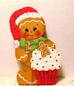 HP Gingerbread Christmas ginger with cupcake SHELF SITTER hand painted USA Gingerbread Ornaments, Christmas Gingerbread, Christmas Candy, Christmas Ornaments, Gingerbread Houses, Wooden Christmas Crafts, Christmas Decorations, Ginger Kids, Decoupage