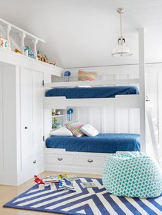 "Nautical Kids' Room In one of the California home's kids' rooms, navy bedspreads from Bed, Bath & Beyond and a chevron rug by Serena & Lily suggest ""nautical"" without going overboard. The beanbag is a PBteen score.    Read more: Tropical Leaf Print Bedroom Wallpaper - Bedroom Design Ideas - Country Living"