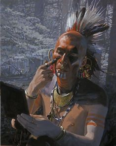 Native American Survival Skills that withstand the test of time for hundreds of years and able to defy every difficulties nature tossed at them. The total guide to teaching you hunting,fishing, fighting, making survival weapons, medical cures and more. Native American Face Paint, Native American Cherokee, Native American Paintings, Native American Artists, American Indian Art, Native American History, Indian Paintings, American Indians, American War