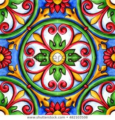 Find Ornaments On Tiles Watercolor Spain Italy stock images in HD and millions of other royalty-free stock photos, illustrations and vectors in the Shutterstock collection. Ceramic Tile Crafts, Ceramic Mosaic Tile, Mosaic Crafts, Ceramic Art, Tile Patterns, Pattern Art, Mexican Colors, Mediterranean Tile, Talavera Pottery