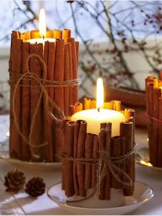 Tie cinnamon sticks around your candles. the heated cinnamon makes your house smell amazing. good holiday gift idea too. Tie cinnamon sticks around your candles. the heated cinnamon makes your house smell amazing. good holiday gift idea too. 242, Noel Christmas, Christmas Candles, Hygge Christmas, Rustic Christmas, Scandinavian Christmas, Scandinavian Style, Christmas Smells, Homemade Christmas