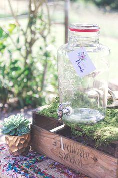 Drink Dispenser | Hummingbird Style & Hire |  #moss #drinkdispenser #glass #vintage #boho #rustic #babyshower #bridalshower #hensparty #events