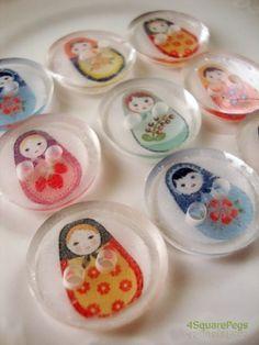 Matryoshka Russian Doll Buttons