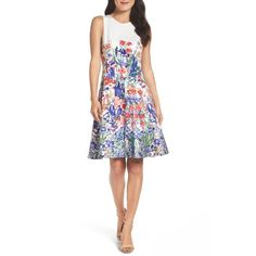 Petite Women's Maggy London Cottage Garden Fit & Flare Dress (€115) ❤ liked on Polyvore featuring dresses, petite, white flare dress, fit and flare dress, petite fit and flare dresses, pattern dress and cotton fit and flare dress