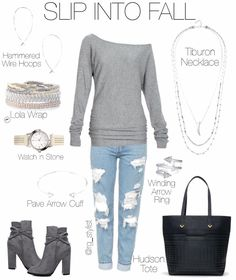 I like most here except booties and bag. Love the off the shoulder top.