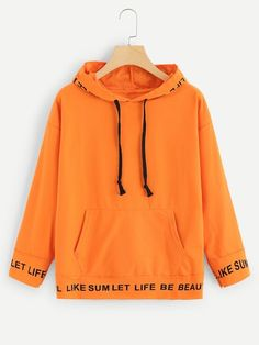 To find out about the Neon Orange Letter Print Drawstring Detail Sweatshirt at SHEIN, part of our latest Sweatshirts ready to shop online today! Sweatshirts Online, Hooded Sweatshirts, Hoodies, Sweat Shirt, T Shirts For Women, Clothes For Women, Romwe, Pullover, Fashion Outfits