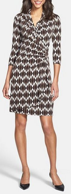 Ikat print wrap dress