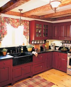 Uplifting Kitchen Remodeling Choosing Your New Kitchen Cabinets Ideas. Delightful Kitchen Remodeling Choosing Your New Kitchen Cabinets Ideas. Farmhouse Kitchen Cabinets, Painting Kitchen Cabinets, Kitchen Redo, New Kitchen, Primitive Kitchen, Primitive Cabinets, Kitchen Ideas Red, Red Kitchen Walls, Red Kitchen Decor