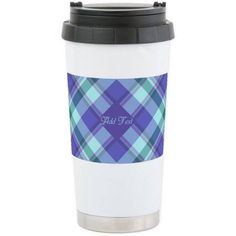 Cafepress Personalized Spring Lilac Plaid Stainless Steel Travel Mug, Multicolor