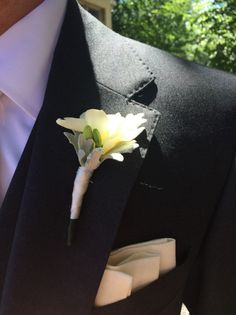 white freesia boutonniere with dusty miller and a simple white ribbon wrap Ribbon Wrap, White Ribbon, Dusty Miller, Wedding Events, Floral Design, Simple, Atelier, Floral Patterns