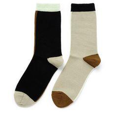 Hansel From Basel Mismatch crew socks ($15) ❤ liked on Polyvore featuring intimates, hosiery, socks, accessories, tights, underwear, color block socks, block socks, crew cut socks and hansel from basel
