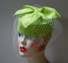 hatmade #green lily #spring green cocktail hat in sinamay