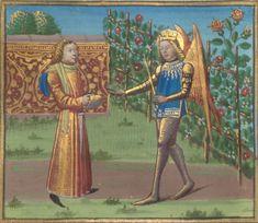 Bibliothèque nationale de France, Français 24392, detail of f. 16v (Love and the Lover). Roman de la Rose. 15th century.