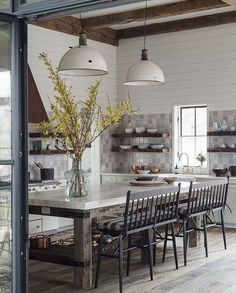 rustic modern industrial oversize white pendants over island