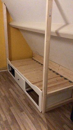 First furnishing Ikea bed box slanted wall homemade box bed children& room - First furniture Ikea bed box sloping wall homemade box bed children& room, - Loft Room, Bedroom Loft, Girls Bedroom, Bedroom Ideas, Ikea Bedroom, Murphy Bed Ikea, Murphy Bed Plans, Attic Bedrooms, Upstairs Bedroom