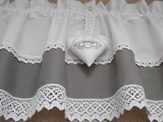 Gardinen - FRENCH GARDINE grau weiß VINTAGE SPITZE - ein Designerstück von rosenstuebchen bei DaWanda