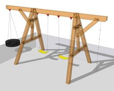 Wooden Swing Set Plan - Timber Frame HQ post and beam wooden swing set Backyard Swing Sets, Diy Swing, Pergola Swing, Diy Pergola, Pergola Ideas, Pergola Plans, Black Pergola, Cheap Pergola, Pergola Shade