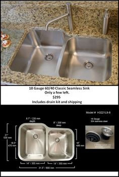 Seamless sink, check out the short video on this web site. ... but I want two equal size sinks