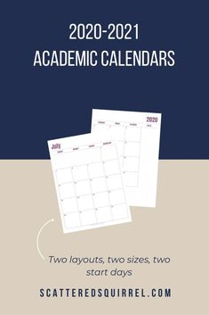 The 2020-2021 Academic Calendar Printables are Here! - Scattered Squirrel