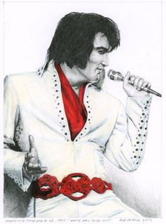 Elvis Presley, Jumpsuits and Stagewear #28. Watercolor, Colored Pencil and Pencil on Bristol Board. 14 x 19 cm. www.elvis-art.com