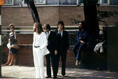 The Beatles, a few minutes before crossing Abbey Road. Note Paul McCartney.