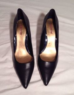 Womens Shoes Size 11 Heels Navy Blue Leather Pumps Pointy Toe Connie #Connie #PumpsClassics