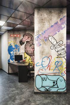 Street art meets wallpaper. On the walls of the digital agency Arscolor vinyl…