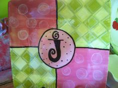 Personalized hand painted ceramic four square initial plate on Etsy, $40.00