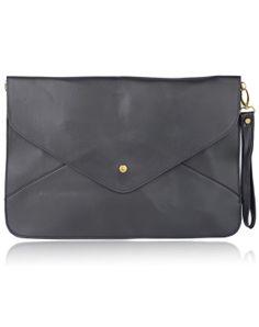 Black+Vintage+PU+Leather+Envelope+Clutch+Bag+US$20.87