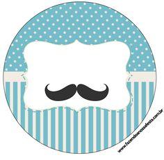 Uau! Veja o que temos para Rótulo pra Latinhas, Tubetes e Toppers Chá de Bebê Mustache 2