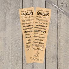 Bodas Nazaret | Marcapáginas de agradecimiento tipográfico