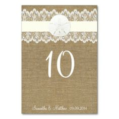 Burlap Sand Dollar Beach Wedding Table Numbers