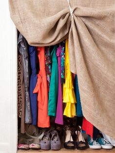 Conceal to Prevent Clutter  When it comes to small spaces, keeping unnecessary clutter concealed is the key to a neat room. If you don't have an armoire or closet door, try designer Alexandra Hernandez's solution: Use burlap fabric like a curtain and hold it slightly open with cotton tie-backs. Voila! Clothes stay tucked away and the room appears instantly tidier.