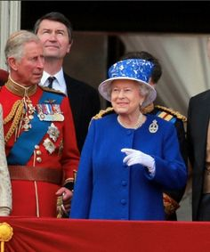 (L-R) Prince Charles The Prince of Wales, Timothy Laurence and Queen Elizabeth II at the Queen Elizabeth II 'Trooping of The Colours' birthday parade event.