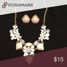 Reserved for azeiger. NWT TRENDY elegant necklace &earring set. Same as set in previous listing. Gems are white / soft white. (May appear slightly pink but are not) Jewelry Necklaces