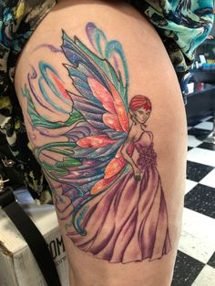 Fairy tattoo by Graham Fisher.  #tattoosforwomen #colortattoo #fairytattoo #thightattoo
