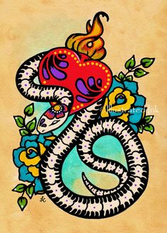 Day of the Dead SNAKE Mexican Folk Art Sacred Heart Tattoo Print 5 x 7, 8 x 10…