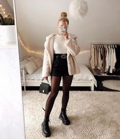 Solid Lapel Neck Double Breasted Teddy Coat Winter Shorts Outfits, Cute Outfits With Shorts, Cute Comfy Outfits, Casual Fall Outfits, Short Outfits, Pretty Outfits, Stylish Outfits, Outfits With Tights, Outfit Winter