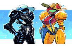 Metroid Samus, Samus Aran, Robots Characters, Nintendo Characters, Black Armor, Zero Suit Samus, Shoulder Armor, Fandom, Video Game Art