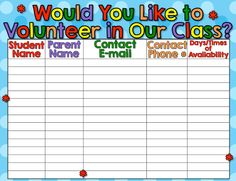 Back to school forms for open house/meet-the-teacher! Classroom Jobs, 4th Grade Classroom, Kindergarten Classroom, Back To School Activities, School Resources, Teacher Resources, School Ideas, Letter To Parents, Parents As Teachers