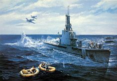 """Oil painting (of Gato) by Tom Freeman (American, born 1952)  """"The Harder (SS-257) Rescues Ensign John Gavlin"""""""