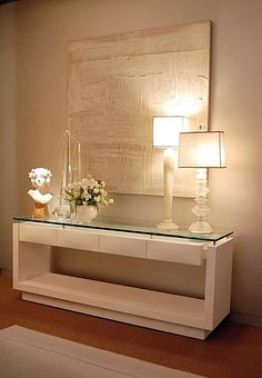 Contemporary console tables are essential to design pieces in any modern interior, a modern console table is a bright addition to a living or dining room. Decor, Home N Decor, Home And Living, Furniture, Interior, Home Decor, House Interior, Hall Decor, Home Deco