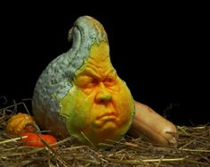 Face Blue Squash Sculpture/Carving by Ray Villafane
