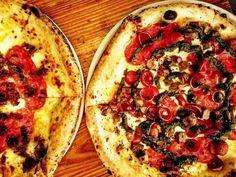 Late night pizza cravings   The Honey Bastard ( mozzarella hot soppressata bacon marmalade and habanero-infused honey) & The Elena made with @valentinastexmexbbq  smoked brisket hot soppressata pepperoni goat cheese and roasted jalapeno pesto  . . .