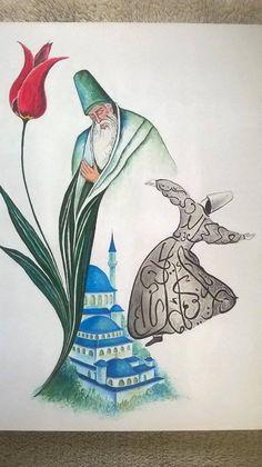 Mevlana Rumi painting, Original painting by dervish, Whirling Dervish Home Decor. Islamic Motifs, Islamic Art Pattern, Islamic Calligraphy, Calligraphy Art, Linocut Prints, Art Prints, Watercolor Paintings, Original Paintings, Spiritual Pictures
